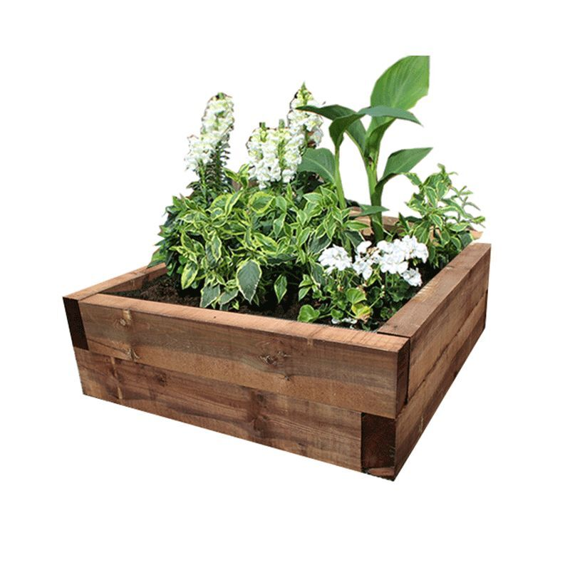 Raised Patio Garden Beds Brown Eco-Treated Softwood Raised Bed Kit - Made From Sleepers - Garden Planter | eBay