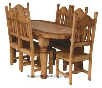 Oval Rustic Dining Room Set With Marble Inlay Real Wood ...