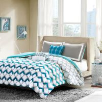 MODERN SPORTY BLUE TEAL AQUA GREY CHEVRON STRIPE COMFORTER