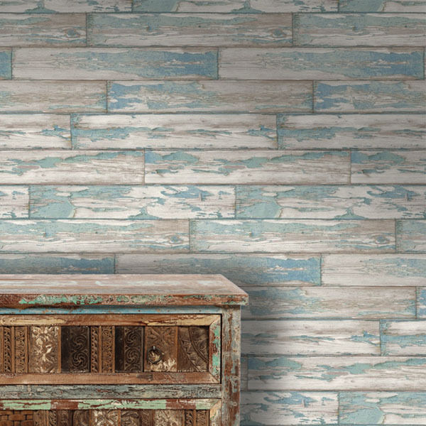 Black And White Feature Wall Wallpaper Fatigued Planks Designer Blue Faux Wood Paint Peeling
