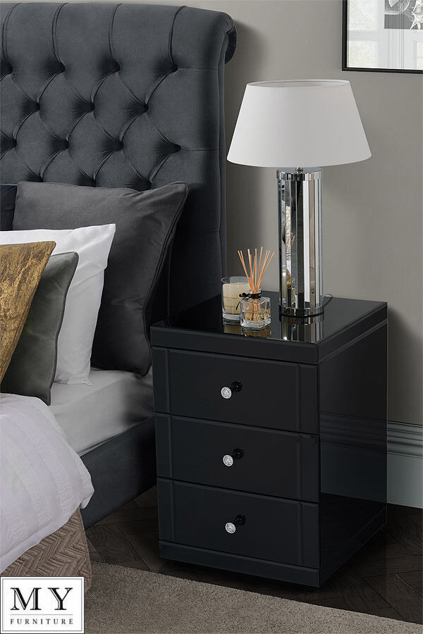 Mirrored Bedside Table My-furniture Black Mirrored Glass Bedside Table Cabinet 3