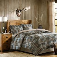 BEAUTIFUL TAN TAUPE BEIGE BLUE BROWN COUNTRY CABIN PLAID ...