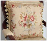 RIBBON ROSE BOUQUET Aubusson Tapestry Pillow Cushion ...