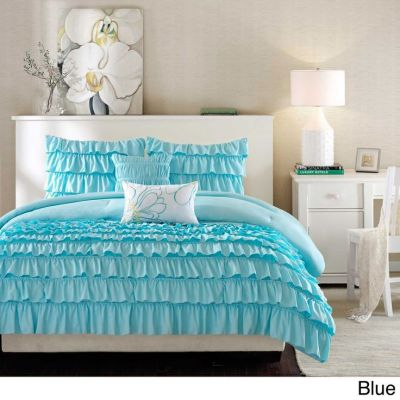BEAUTIFUL 5PC TEAL SOFT BABY BLUE WHITE MODERN GIRL RUFFLE TEXTURE COMFORTER SET | eBay