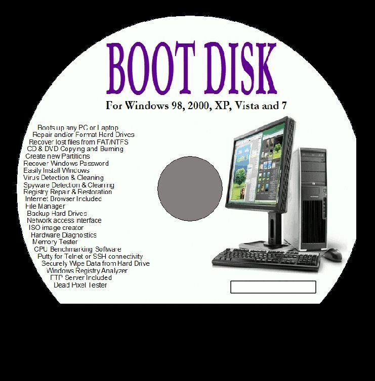 Boot Disk For Pc Repair Rescue Fix Windows Recovery