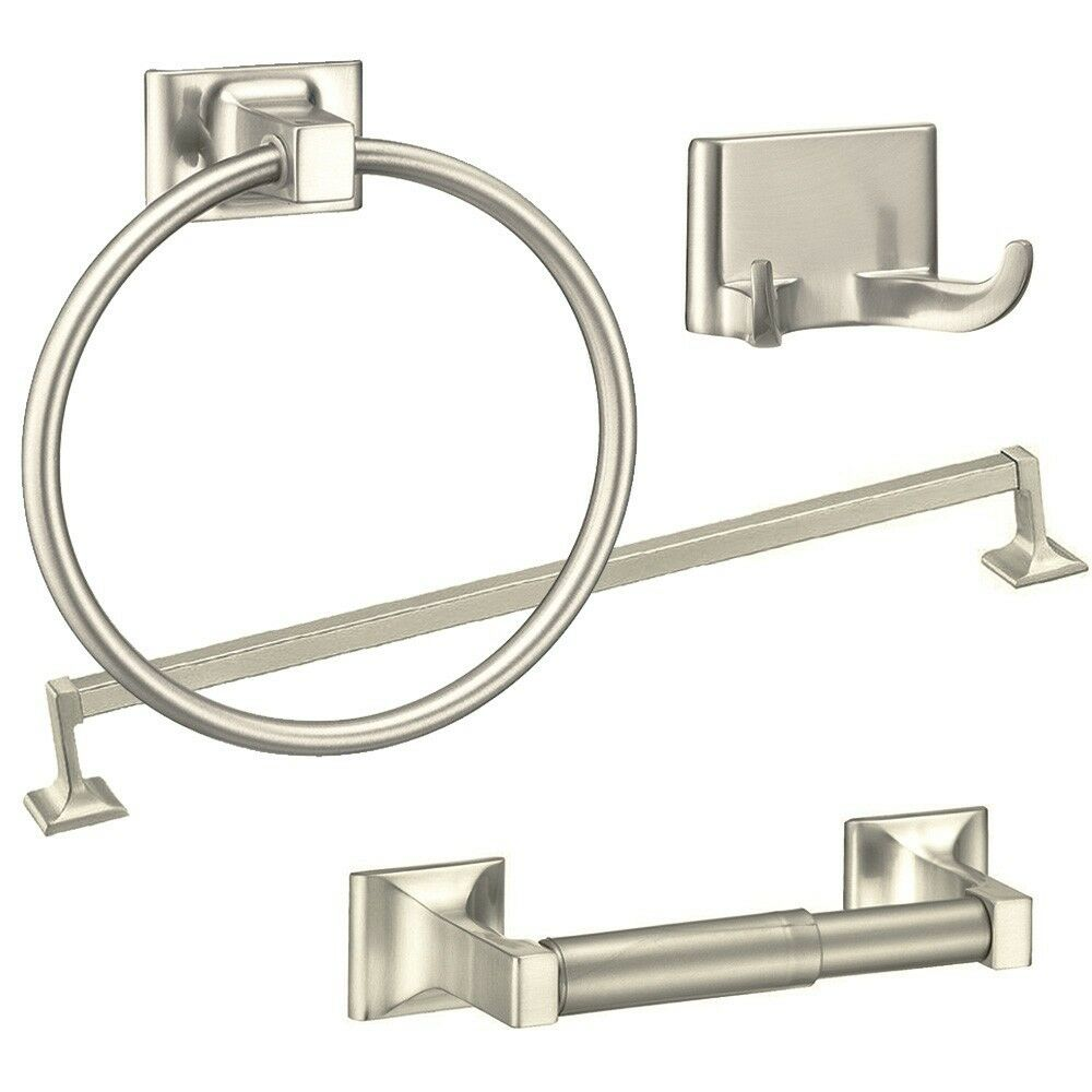 Bathroom Accessories 4 Piece Towel Bar Set Bath Accessories Bathroom Hardware Brushed Nickel 730669632785 Ebay