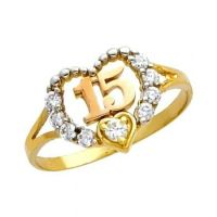 "14K Solid Tri-color Gold Quince Anos ""15"" Sweet Fifteen CZ ..."