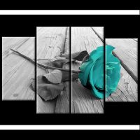 Black White Teal Rose Floral Canvas Wall Art Pictures Wide ...