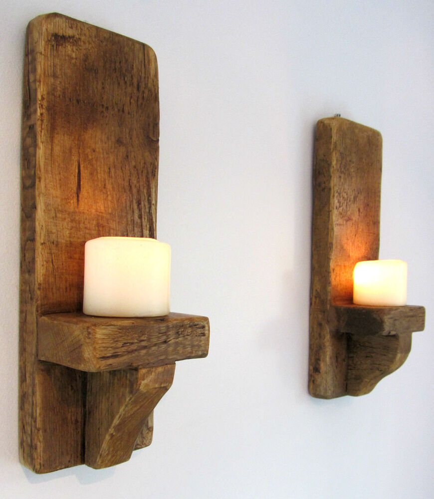 PAIR OF 39CM RUSTIC SOLID WOOD HANDMADE SHABBY CHIC WALL