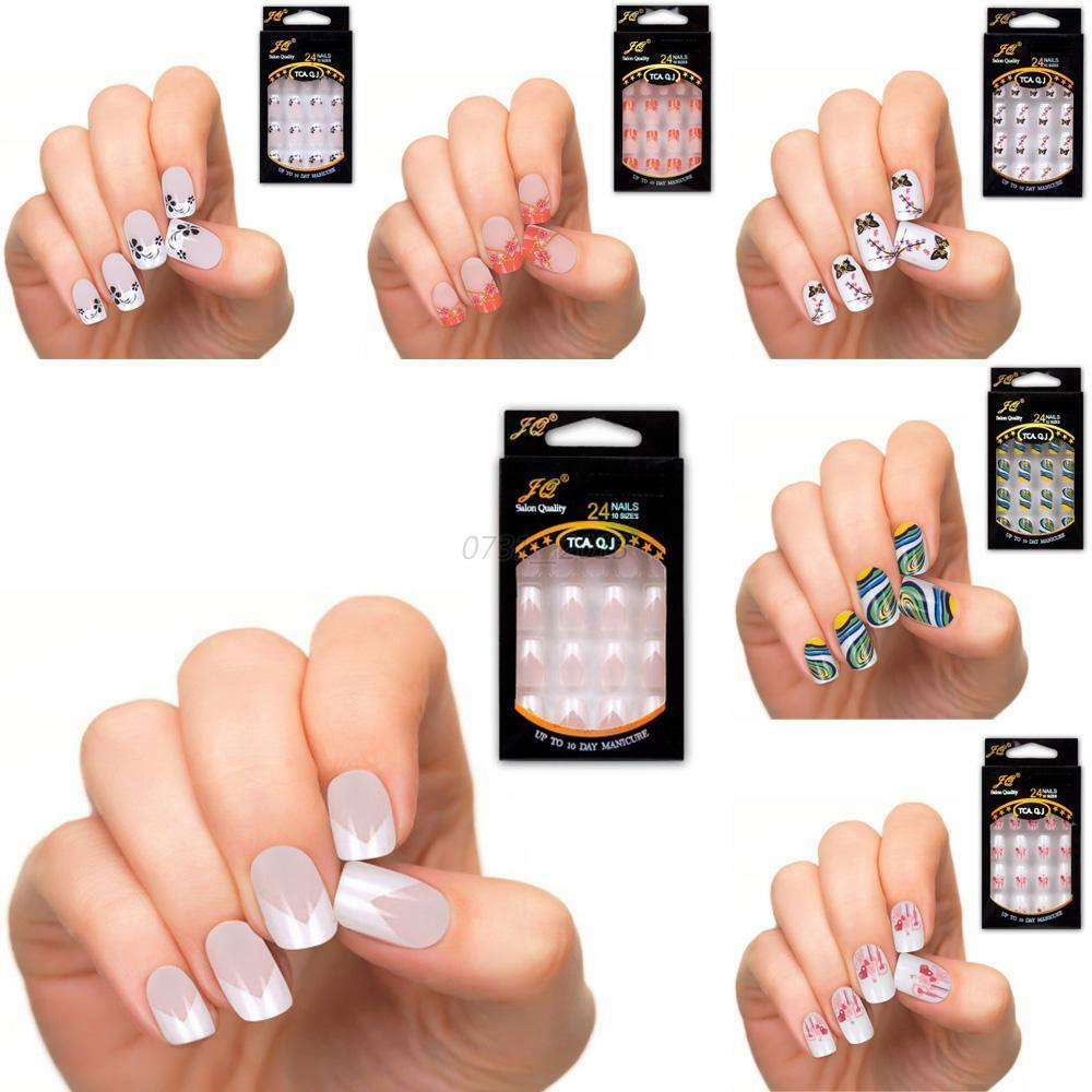 25 Colors Vogue Diy Manicure Acrylic Nail Tips Full French
