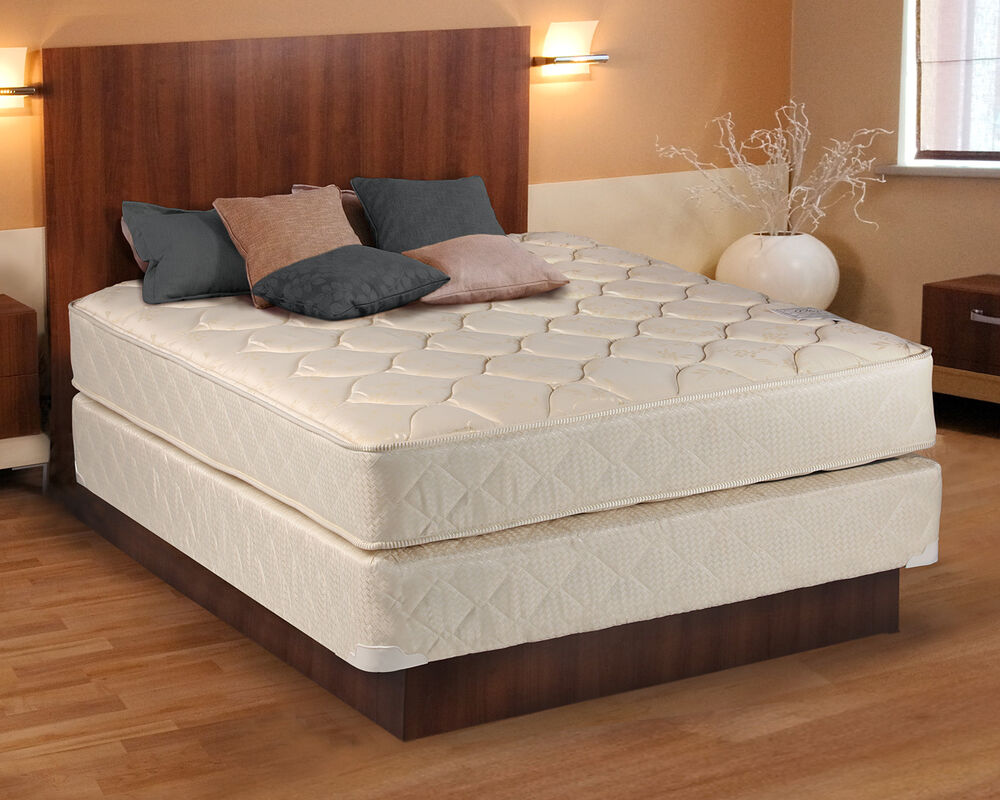 Comfort Classic Gentle Firm Beige Twin Size Mattress And - Box Spring Bed