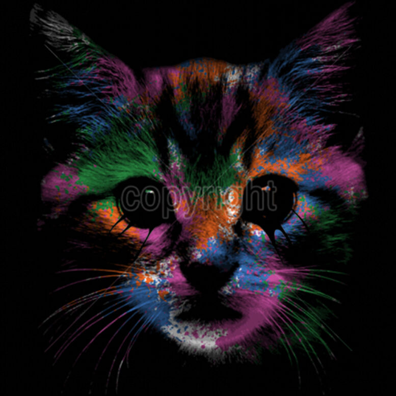 Cute Gorilla Wallpapers Kitty Face Neon Colors Cat Kitten Animal Lovers Funny T