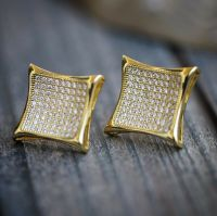 Mens Gold 14K Large Hip Hop Lab Simulated Diamond Earrings ...