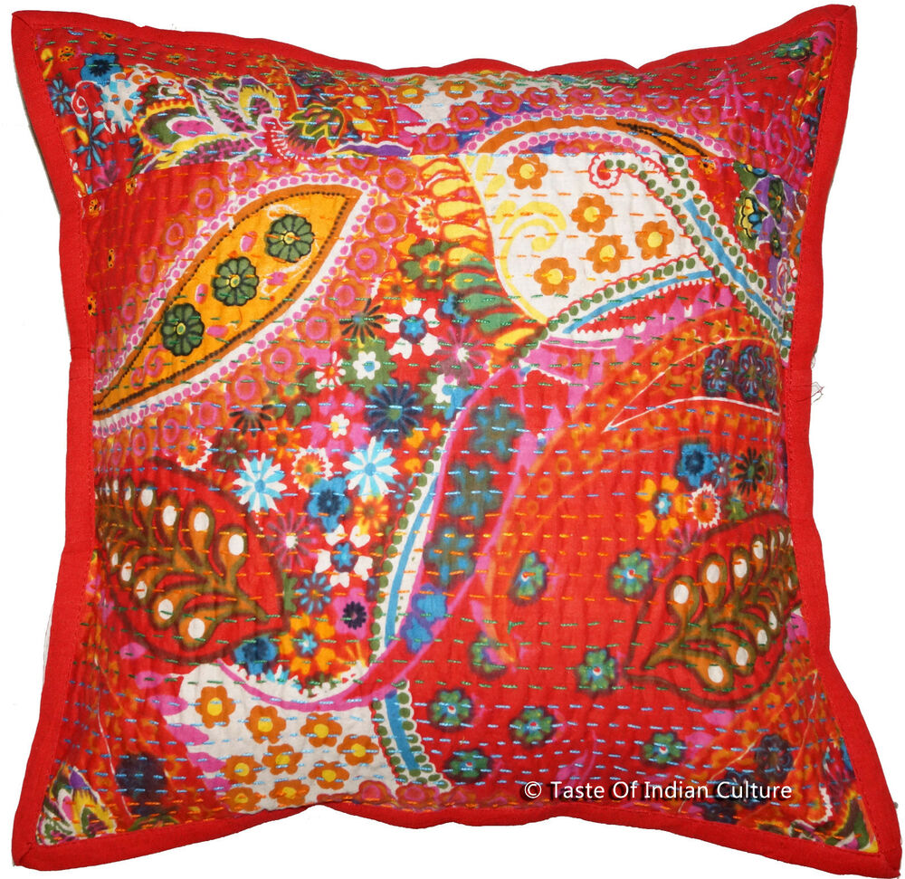 Red Kantha 16quot Paisley Pillow Cushion Cover Cotton