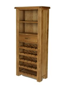 Earlsbury Solid Chunky Wood Rustic Oak Tall Wine Rack