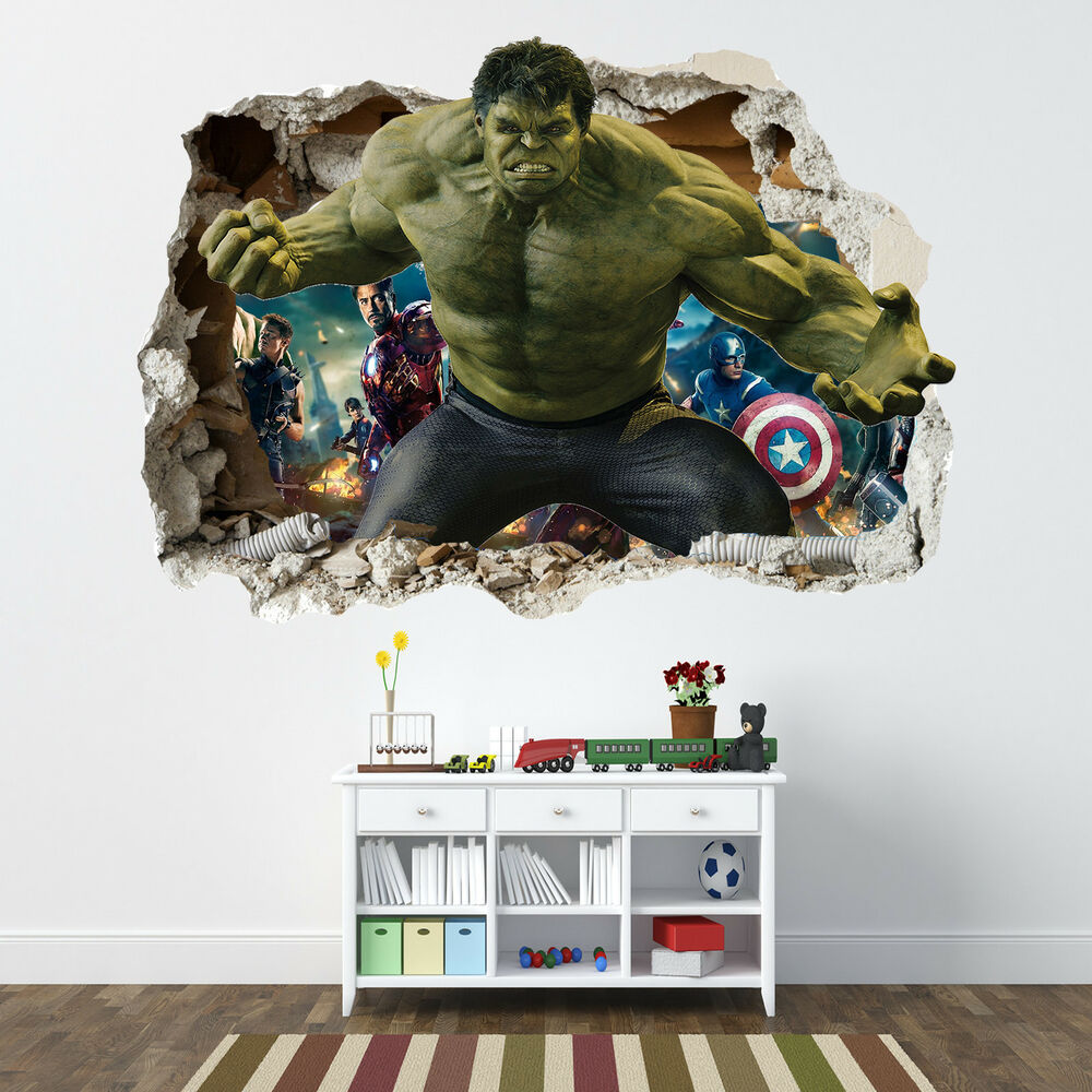 3d Brick Wallpaper Uk Incredible Hulk Smashed Wall Sticker Bedroom Boys