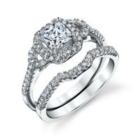 925 Sterling Silver CZ Engagement Wedding Ring Set Cubic ...