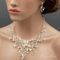Pearl Crystal Wire Wrapped Necklace Earrings Bridal ...