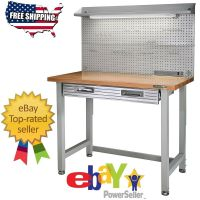 GARAGE LIGHTED WORKBENCH WOOD TOP STEEL FRAME WORK TABLE ...