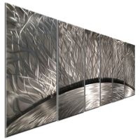 Abstract Metal Wall Art Sculpture Silver Sun Rays Home ...