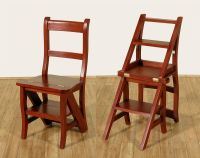 Cherry Convertible Ladder Chair Office Library Step Stool ...