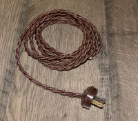 BROWN ~ 8' Vintage Lamp Cord ~ Twisted Cloth Covered Wire ...