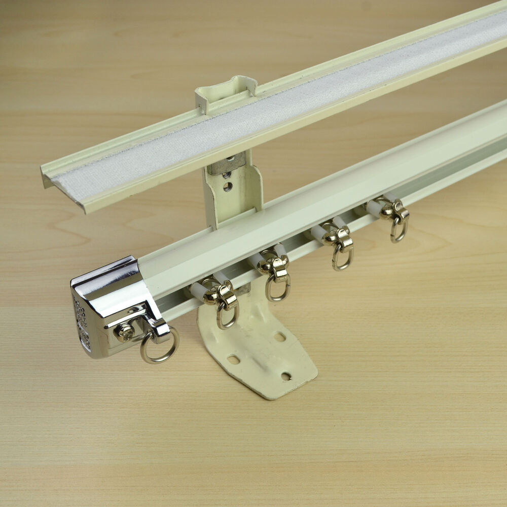 Wall Mount Curtain Track 8 Ft Ivory Wall Mount Double Curtain Track Kit With Valance Track Customizable Ebay
