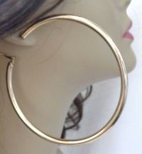 LARGE 4 INCH HOOP EARRINGS GOLD TONE MEDIUM THICK HOOPS