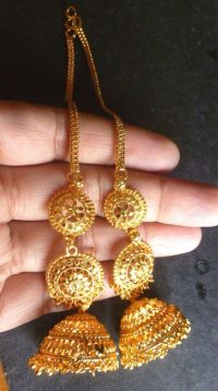 22K Gold Plated Indian 3 Steps Jhumka with Long Chain ...