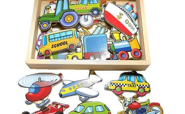 New Kids Wooden Toy Box Magnetic Transport Vehicle Car