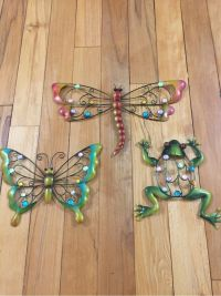 Colorful Creatures Metal Wall Art Butterfly Frog Dragonfly ...