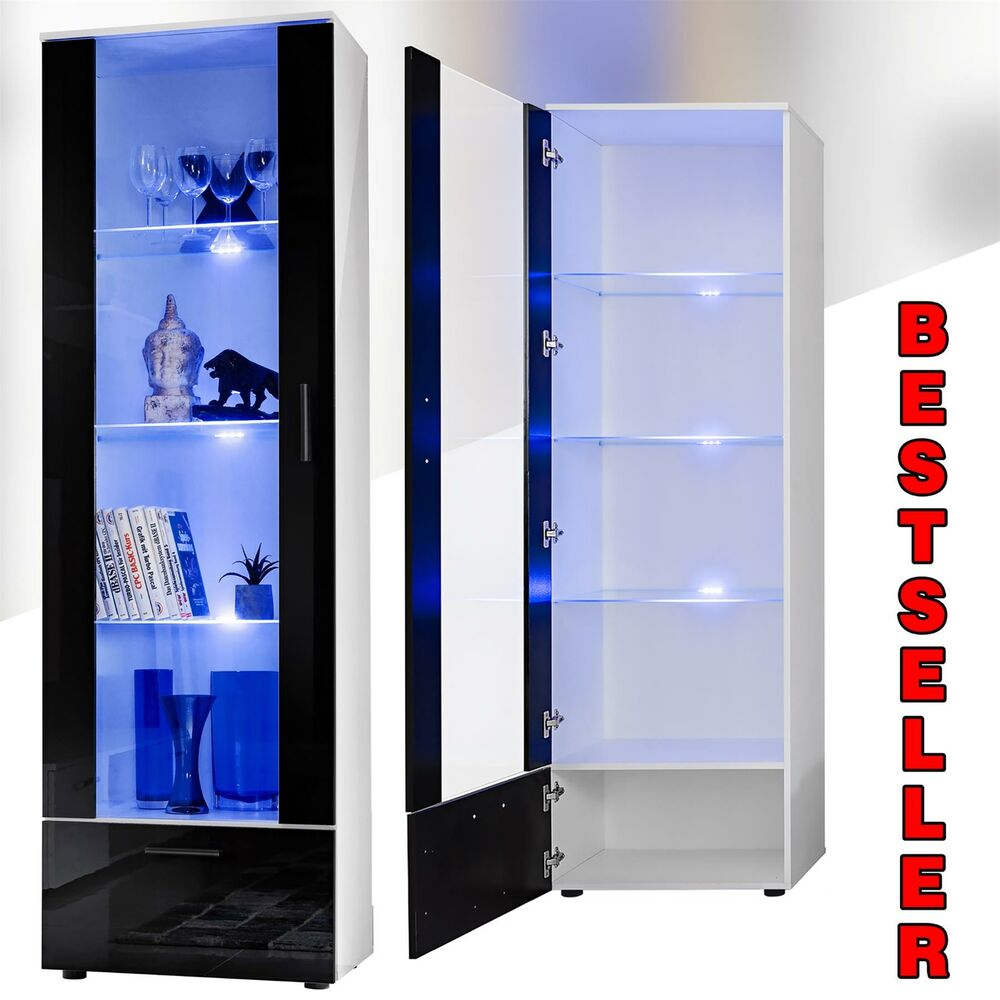 Vitrine Pour Verres Tall Display Cabinet High Gloss White Glass Shelves Furniture Modern 192cm Ebay