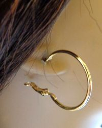 SMALL 1.5 INCH SIMPLE THIN HOOP EARRINGS GOLD OR SILVER ...