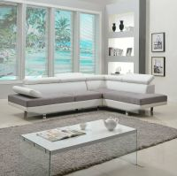 2 Piece Modern Contemporary White Faux Leather Sectional ...