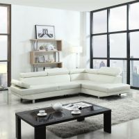 Modern Contemporary White Faux Leather Sectional Sofa ...