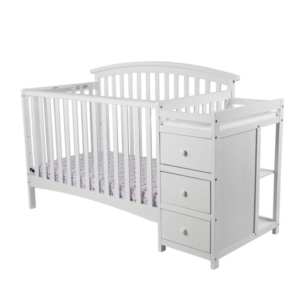 White Toddler Baby Bed 5 In 1 Convertible Crib Set Nursery