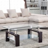Glass Coffee Table Shelf Rectangular Chrome Walnut Wood ...