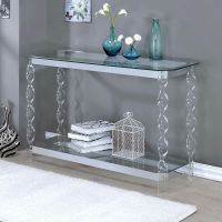 Console Tables For Entryway Chrome Sofa Table Clear Glass ...