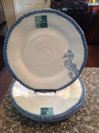 TOMMY BAHAMA MELAMINE Seahorse Nautical Ocean DISHES