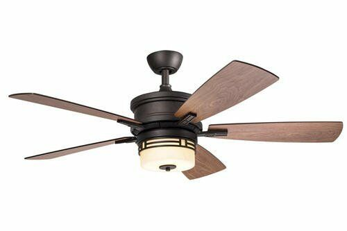 """52"""" Mission Style Ceiling Fan + Remote! Glass Globe"""