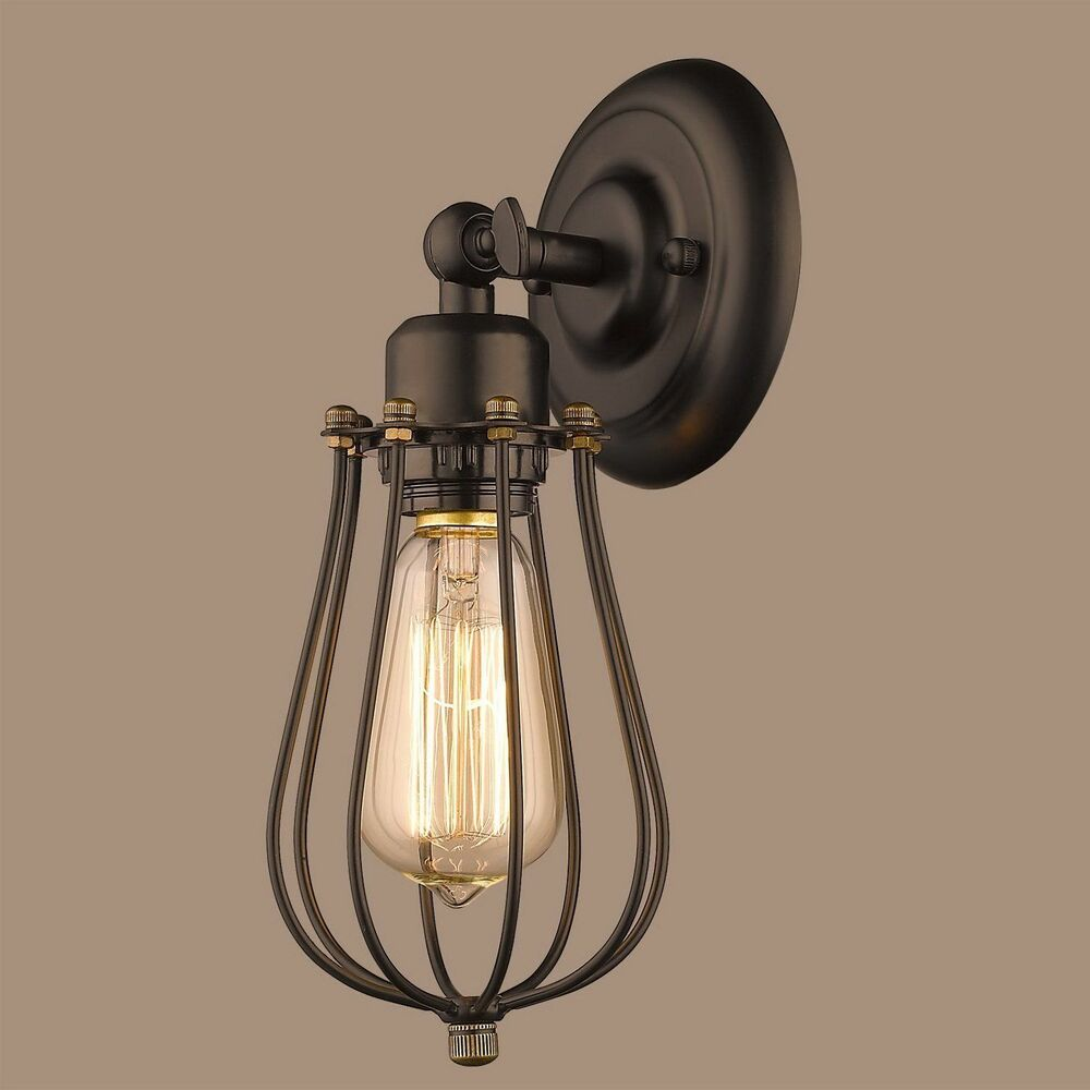 Lighting Industrial Edison Mini Wire Cage Oil Rubbed
