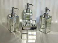 BELLA LUX Crystal Mirror Rhinestone BATHROOM ACCESSORIES ...