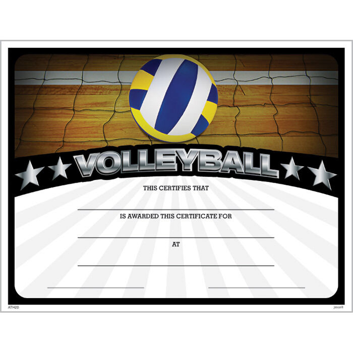 Volleyball Award Certificate, Pack of 15 eBay