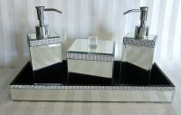 BELLA LUX Mirror Rhinestone Crystal BATHROOM ACCESSORY SET ...