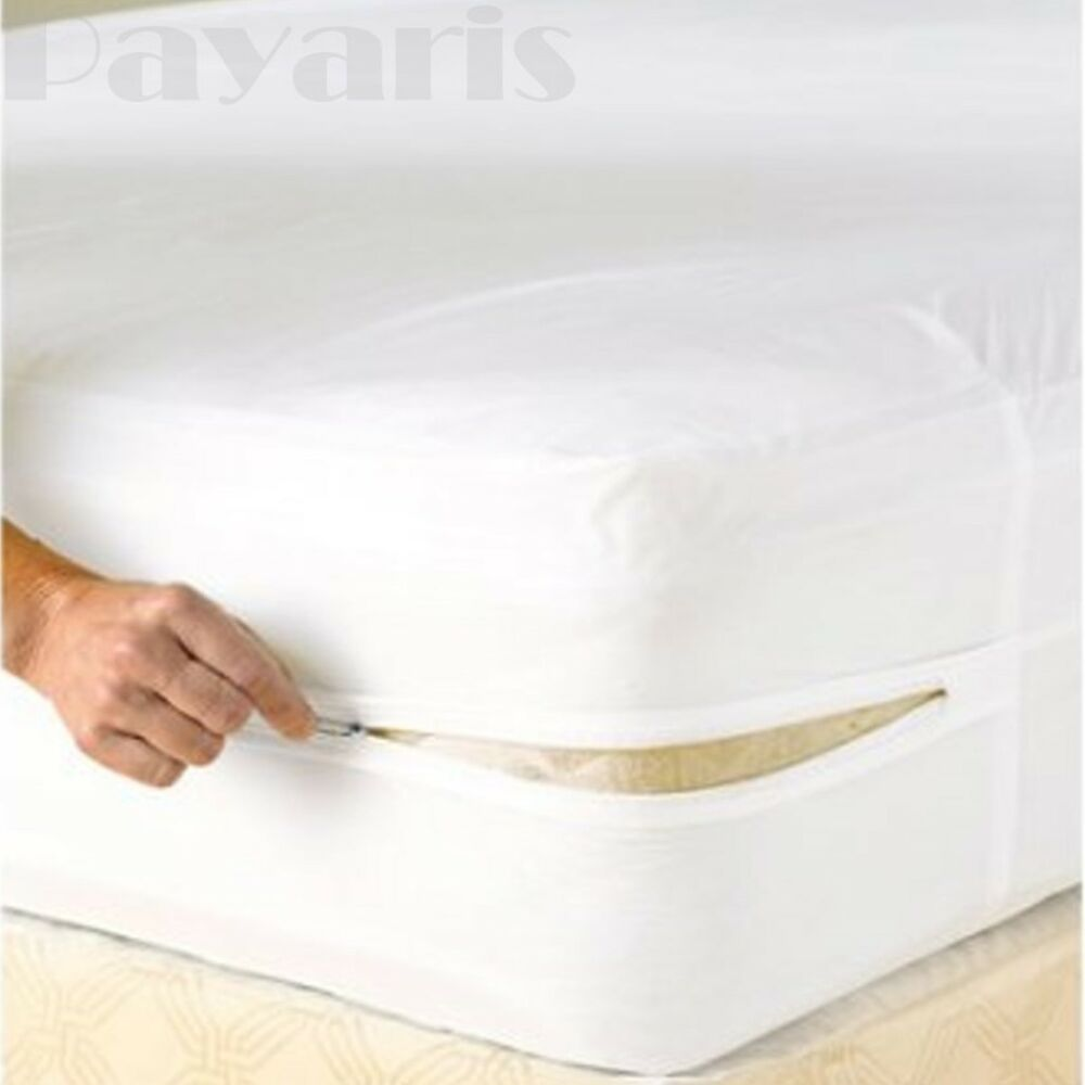 Bed Bugs Mattress Cover Waterproof Zippered Mattress Cover Non Allergenic Vinyl Bed Bug Protector Ebay
