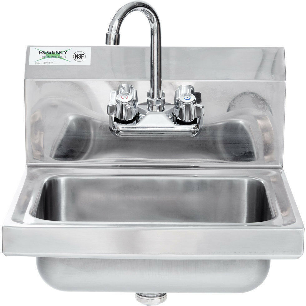 17quot X 15quot Hand Wash Sink W Faucet Commercial Stainless
