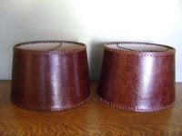Pottery Barn Leather Tapered Drum Lamp Shades SET/2, SMALL ...