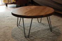 Rustic Vintage Industrial Wood Round Coffee Table Metal