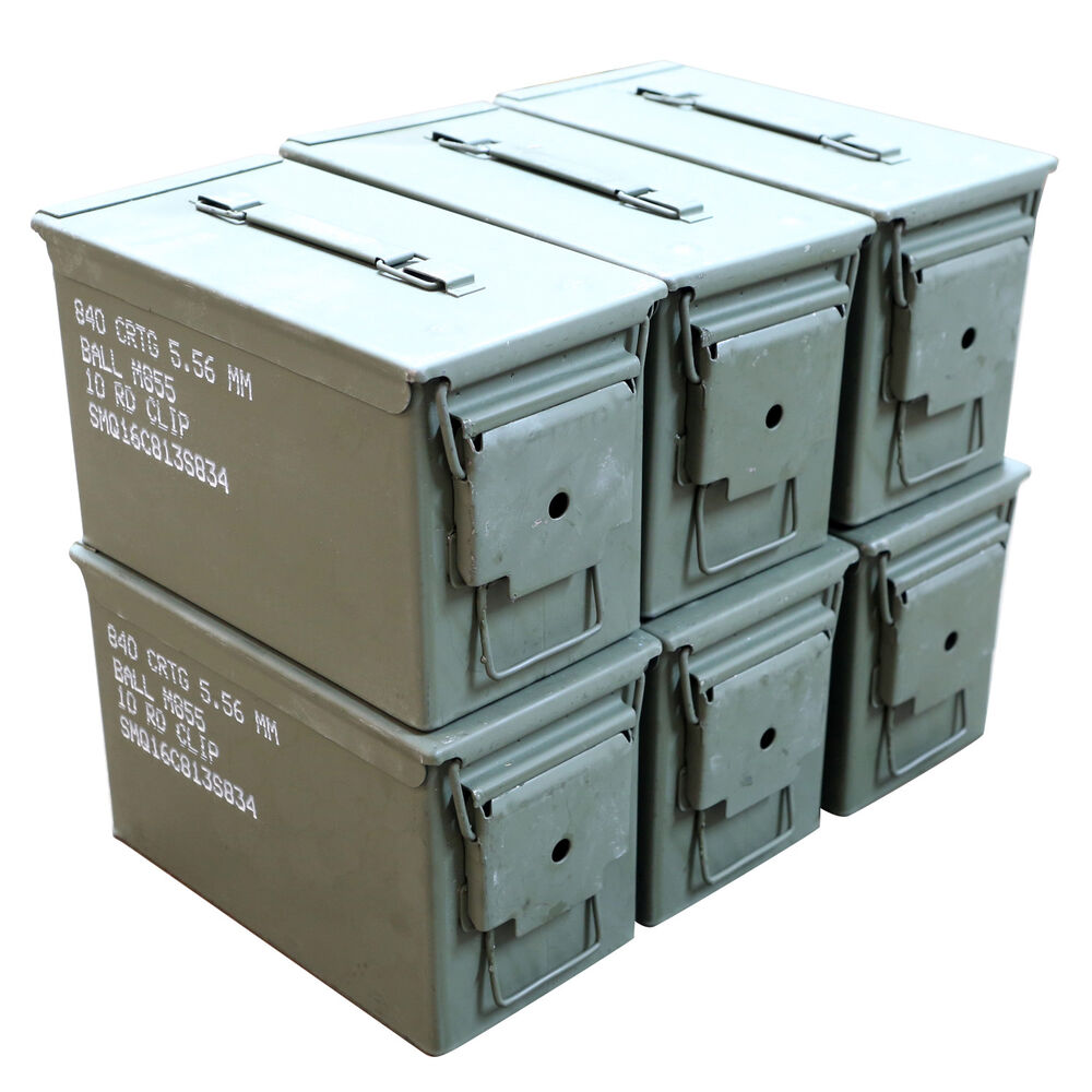 6 Pack M2a1 Surplus 50cal Size Metal Ammo Cans Ammo Box