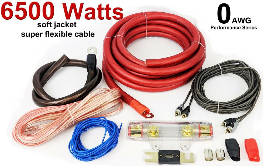0 GAUGE Car Amp Amplifier Cable Sub Subwoofer Wiring Kit 6500 Watts
